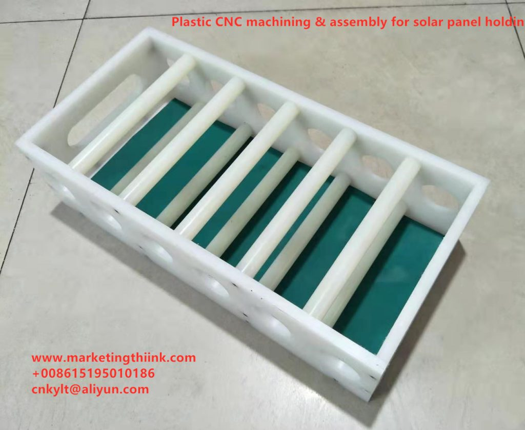 CNC machined plastic parts and assembly for solar panel holding